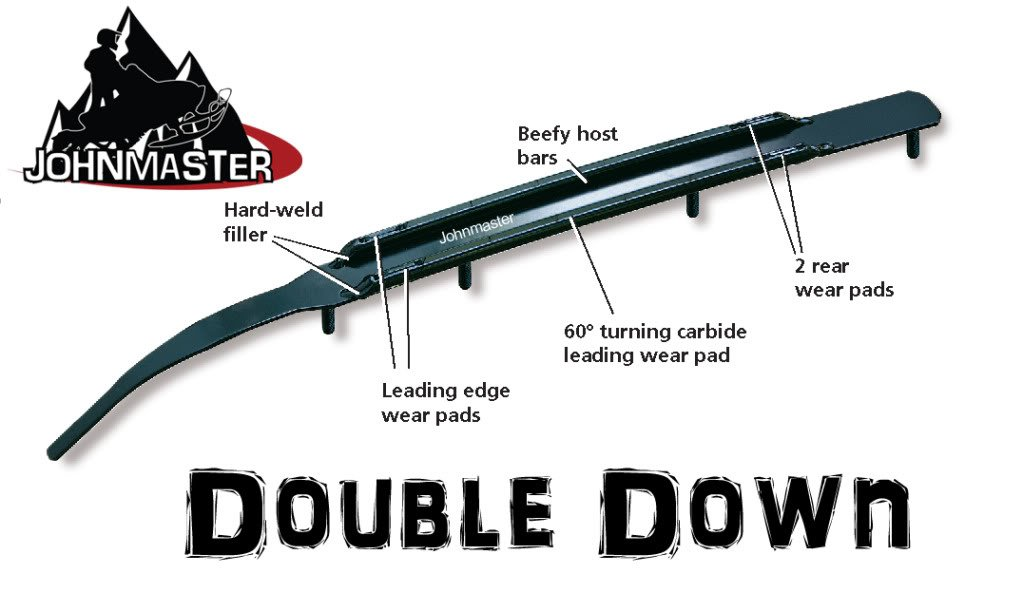 RD7810 10'' Pair of 60° Double Down Runners for C & A Pro Skis -Snowstuds Advantage X Razor XT Ultra III Carbides