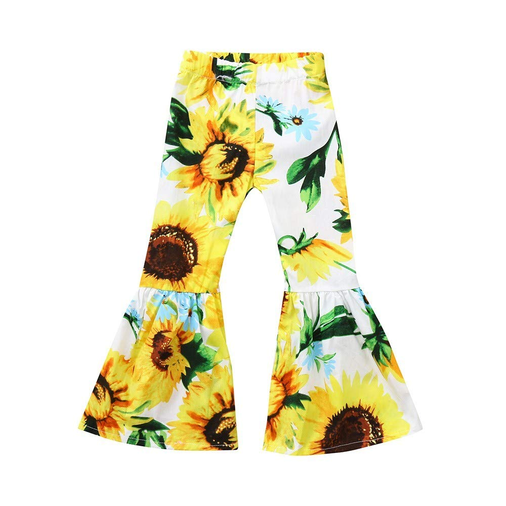 Clothful  for 0-2 Years Old Kids Outfits, Children's Girls Sunflower Print Flare Pants Casual Pants White