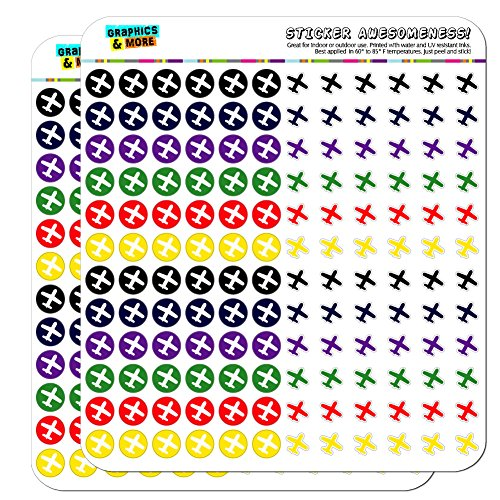 Airplane Flying Travel Dots Planner Calendar Scrapbooking Crafting Stickers - Multi Color - Clear