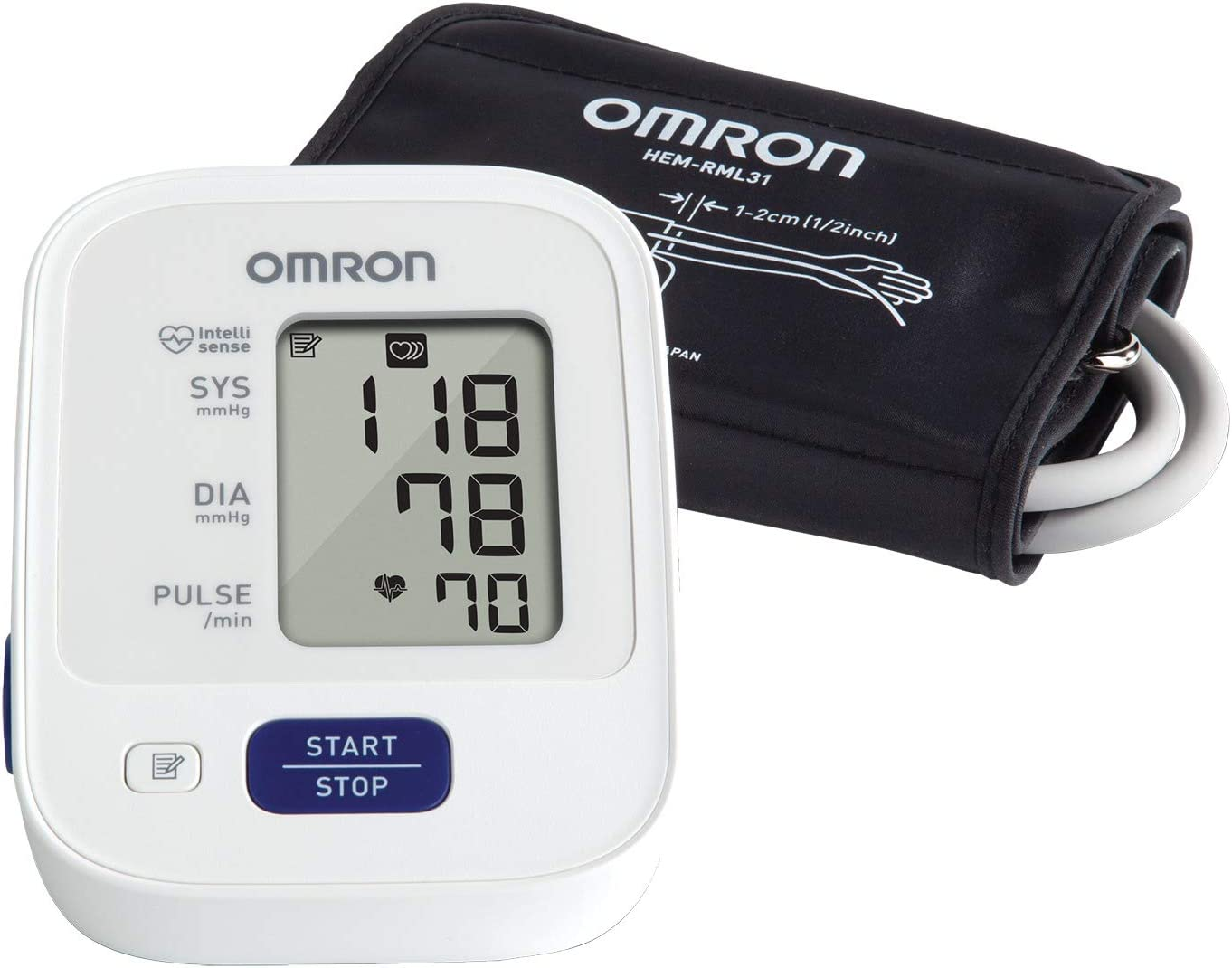 Omron 3 Series Upper Arm Blood Pressure Monitor; 14-Reading Memory, Soft Wide-Range Cuff