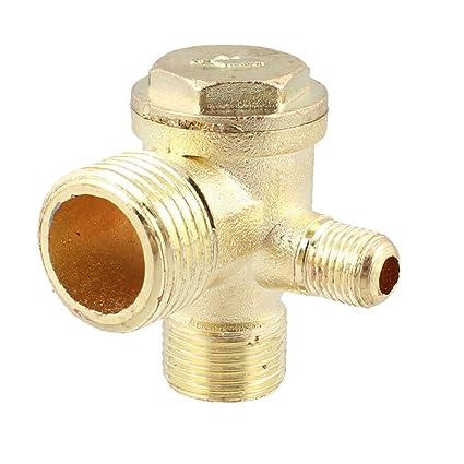 TOOGOO(R) 2/5 pulgada 3/8 pulgada PT 1/2 pulgada PT Macho Roscado Valvula de retencion de compresor de aire de metal de 3 vias Tono de oro: Amazon.es: ...