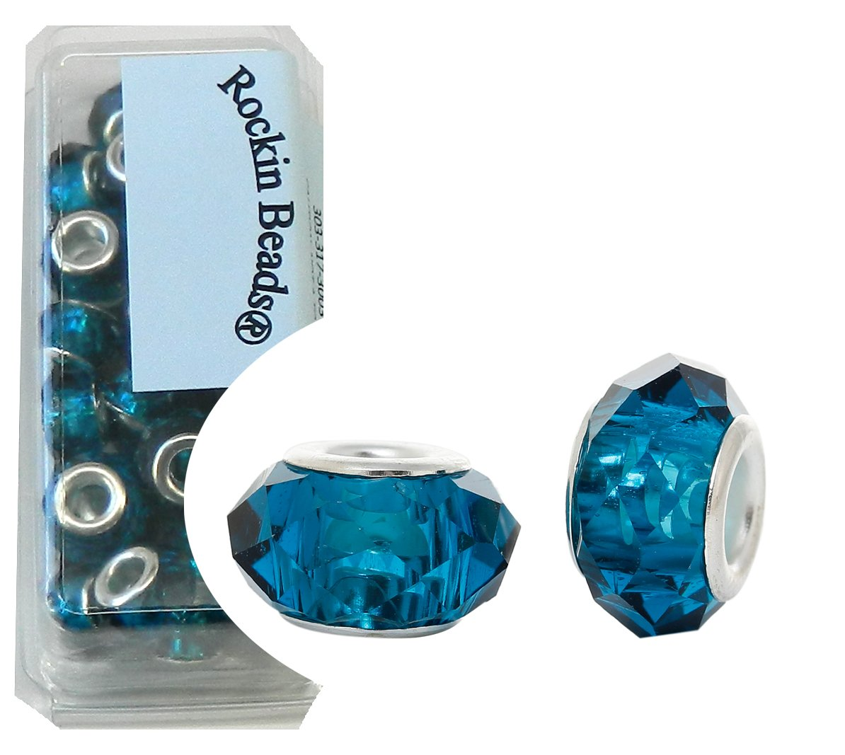 Rockin Beads 24 Teal Blue Beads Faceted Glass Large 4.5-5mm Hole