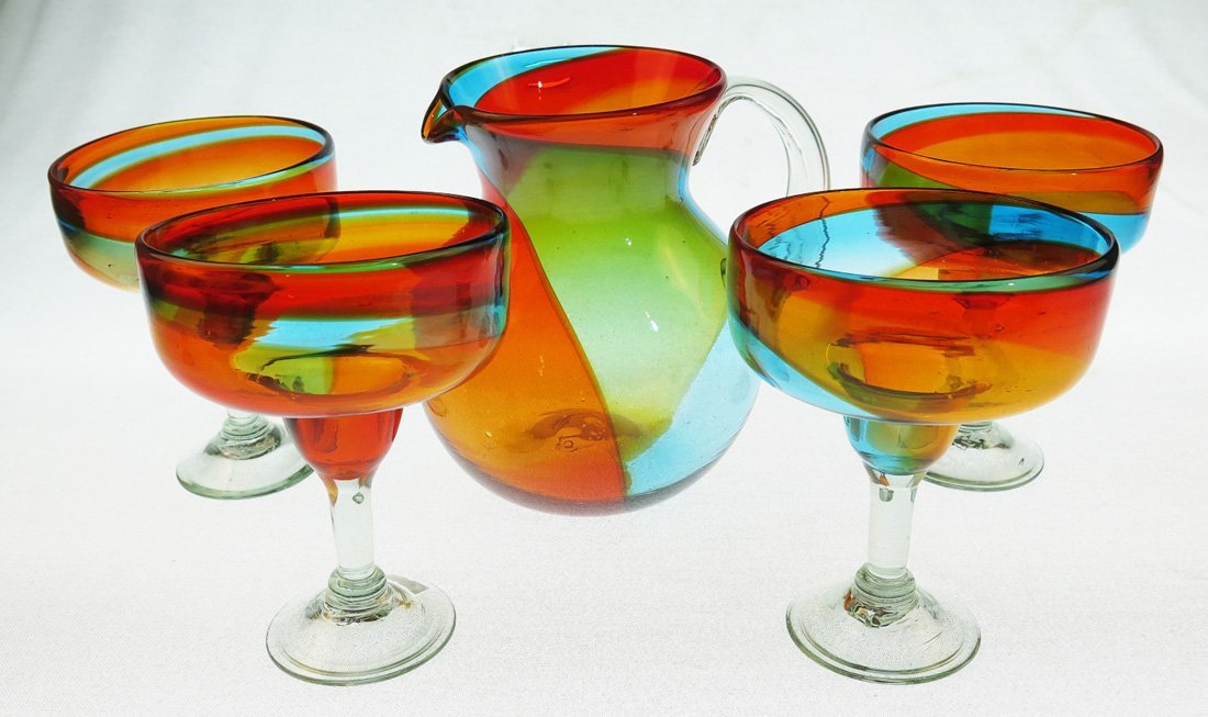 Mexican Margarita Glasses and Pitcher, Hand Blown, Rainbow Colors 18 Oz,Set of 5