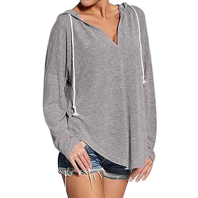 Blusa Mujers Yesmile Las Mujeres Camisa Manga Larga para Mujer con Cuello en V Sudadera con Capucha Sudaderas con Capucha Blusa: Amazon.es: Ropa y ...