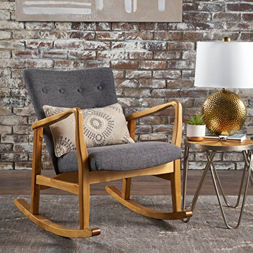 Christopher Knight Home 301993 Collin Mid Century Fabric Rocking Chair (Grey), Light Walnut