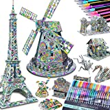 10-PACK 3D Coloring Puzzle Large Architect Models: 10 3-D Puzzles + 48 Gel Pens by Talented Kidz. 3D Puzzles for Adults & 3D Puzzles for Kids Ages 10-12. Builder STEM Art Crafts for Girls High IQ Gift