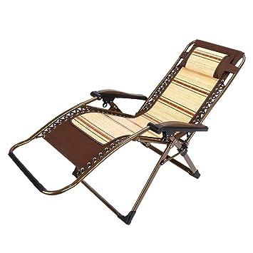Eeayyygch Silla Plegable reclinable Alambre de bambú Natural ...
