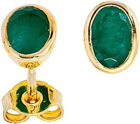 Ohrstecker Ohrschmuck mit Smaragd grün 585 Gold Gelbgold