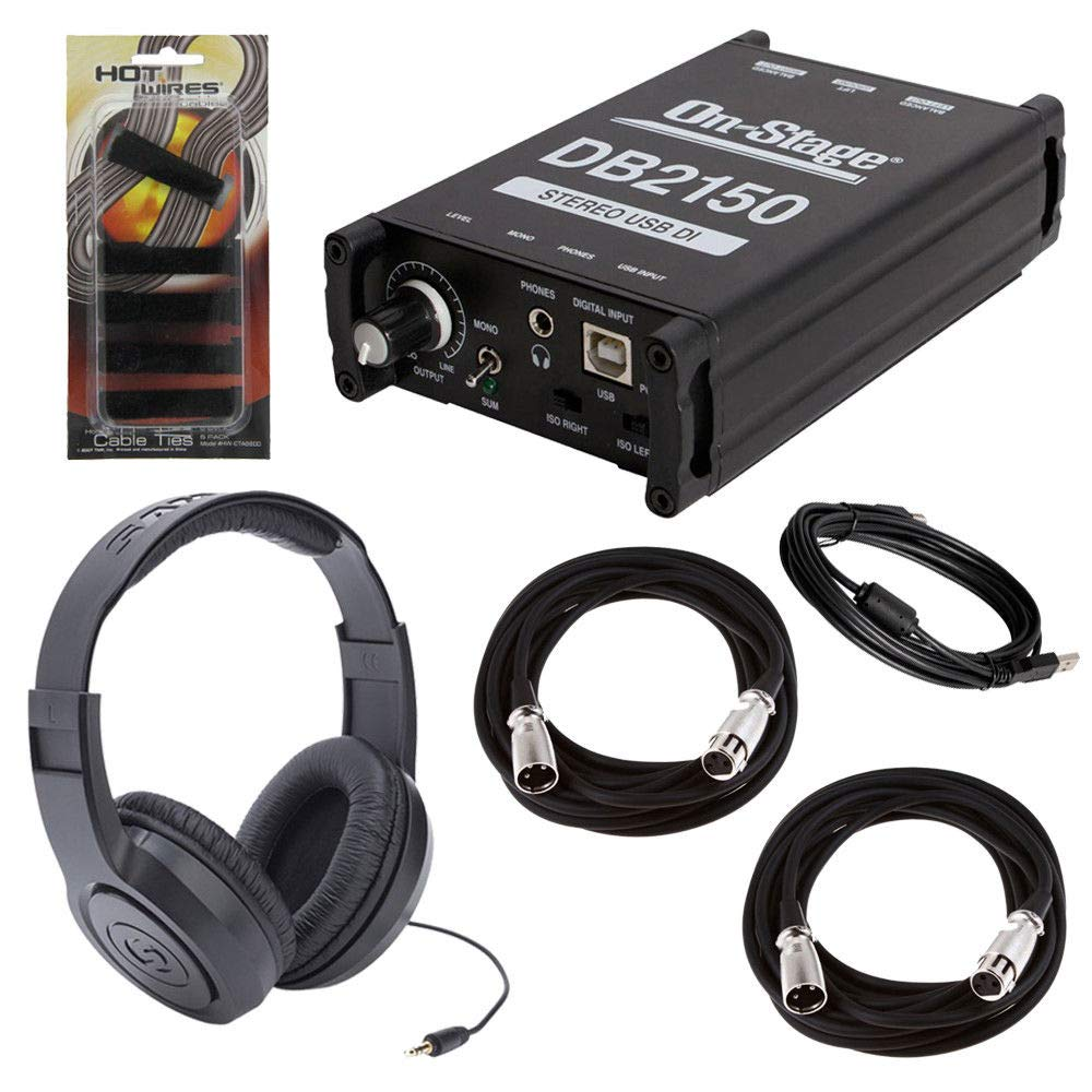 On-Stage DB2150 Stereo USB DI Box + Samson SR350 Over-Ear Stereo Headphones + 2x On Stage Mic Cable + Cable Ties