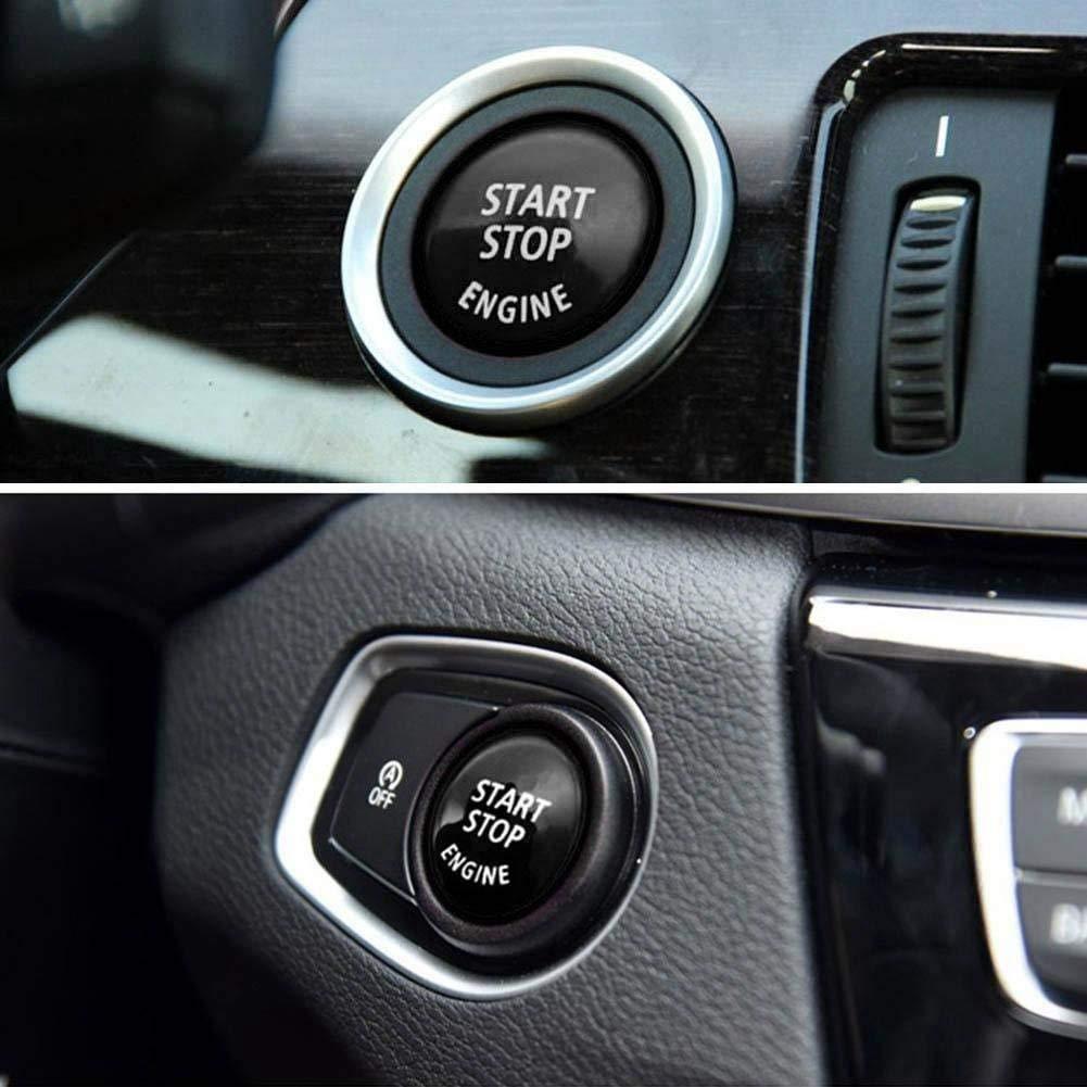 Negro 1 3 5 Series E87,E90//E91//E92//E93,E60 E84,E83 Etc Binchil Reemplazo de La Cubierta del Interruptor de Encendido del Bot/ón de Arranque del Motor de Parada para X1 X3 X5 X6 Z4
