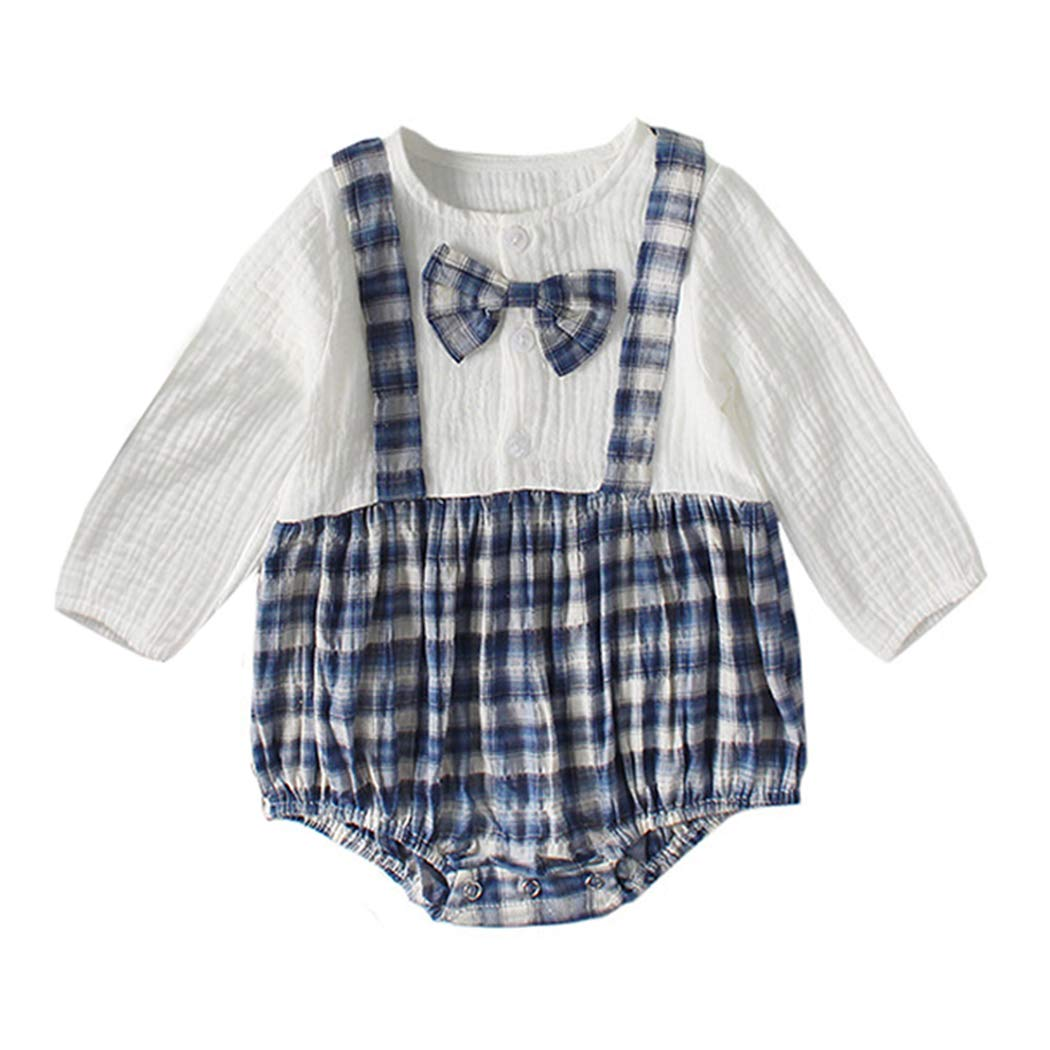 XINXINHAIHE Infant Baby Long Sleeve Romper Plaid Stitching Jumpsuit for Sisters and Brothers