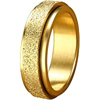 Fenical Rotating Ring Stainless Steel Ring Attractive Sandblasting Ring for Women Wearing American Standard Circumference No.5 (Golden) 2.13x2.13x0.6cm