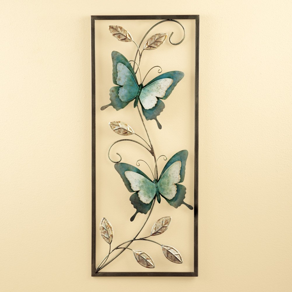 Amazon.com: Collections Etc Metal Blue Butterflies Wall Art: Kitchen ...