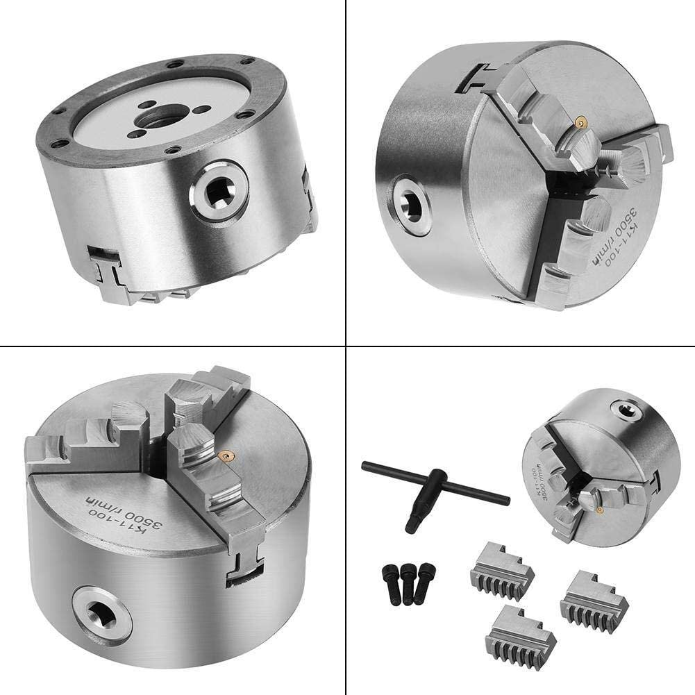 LIANGANAN Tools Lathe Chuck 4inch 3-Jaw Self-Centering Metal Lathe Chuck with Extra Jaws Turning Machine Accessories Woodworking