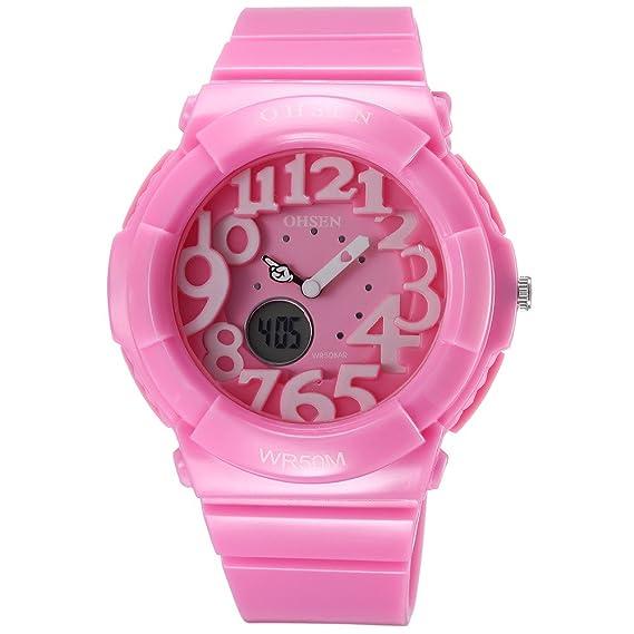 OHSEN niños Boy niña rosa analógico Digital Dual tiempo cuarzo banda de silicona WR...: Amazon.es: Relojes