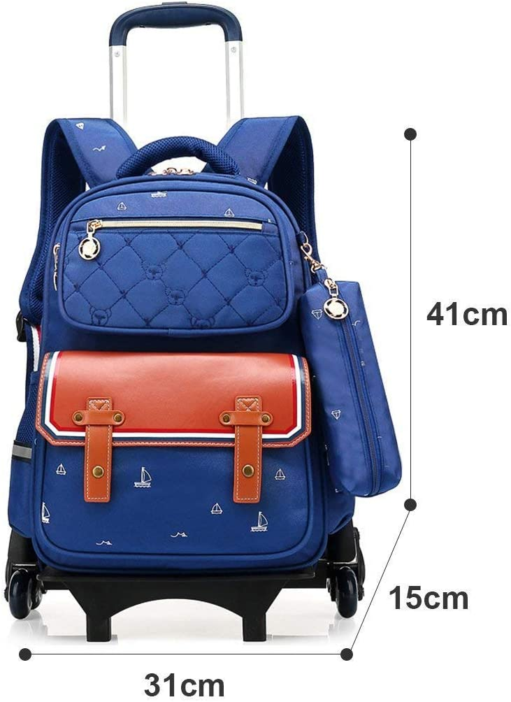Rose red XHHWZB Kids Lovely Trolley Backpack Bowknot School Bag Three Wheeled Removable for Primary Students Girls