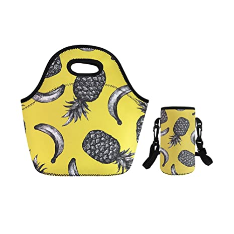 294632efc7a5 Amazon.com: YOUNGERBABY Banana Print Insulated Neoprene Lunchbox ...