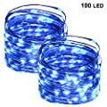 Twinkle Star 2 Pack 100 LED Copper Wire String Lights Fairy String Lights Battery Operated 33 FT LED String Lights for Christmas Wedding Party Home Holiday