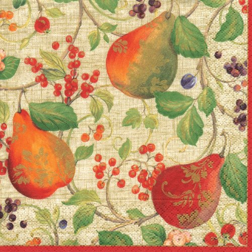Entertaining with Caspari Cocktail Napkins, Decorated Pears Natural, Pack of 20
