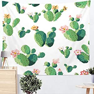 Renashed Cactus Tapestry Wall Decor Plants Home Decor Wall Art Large Tablecloths Wall Backdrop 59 x51 inches