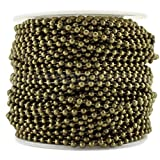 CleverDelights Ball Chain Spool - 100 Feet - Antique Bronze Color - 2.4mm Ball - #3 Size - Bulk Roll
