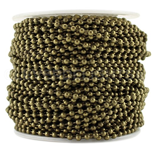 CleverDelights Ball Chain Spool - 100 Feet - Antique Bronze Color - 2.4mm Ball - #3 Size - Bulk Roll (Silver 100ft Spool)