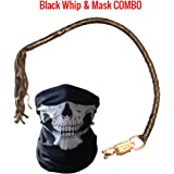 "Get Back Whip Motorcycle - Premium Dealer Quality Real Cowhide Leather Biker 36"" Handlebar Whips & Half Skull Face Tubular Mask [Combo Pack] - Heavy Duty Quick Release Lever Attachment (Black)"