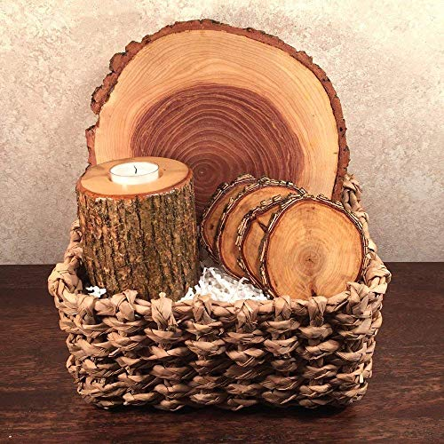 Woodmans Chest Natural Tree Wood Gift Basket