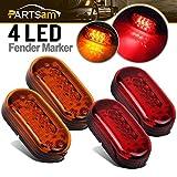 Partsam 2 Amber + 2 Red 12V 4' x 2' Oval Led Truck Side Marker Light Surface Mount 10Diode, Sealed Trailer Led Clearance and Side Marker Lights, Black Base, Rectangular Rectangle Led Lights