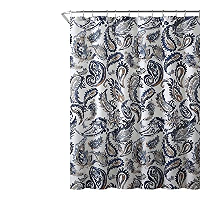 "Decorative Navy Blue Gold Fabric Shower Curtain: Watercolor Floral Paisley Design, 72"" x 72"" inch - Bold Paisley printed Fabric Shower Curtain in Blue, Navy, Taupe over White Size: 72"" x 72"" DESIGN: The bold paisley print features a variety of rich hues of Blue, Navy, Taupe over White background. Harmonious combination of these colors and an Attractive Large Paisley Pattern will work well with many existing bathroom decors MATERIAL: This curtain is made of soft textured microfiber fabric that will hang nicely on your shower curtain hooks or rings. Crafted from Durable 100 percent polyester fiber this curtain will not shrink or fade with use. We recommend one of our many vinyl shower liners for added protection against water - shower-curtains, bathroom-linens, bathroom - 61EIBm54b1L. SS400  -"
