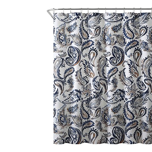 Decorative Navy Blue Gold Fabric Shower Curtain: Watercolor for sale  Delivered anywhere in USA