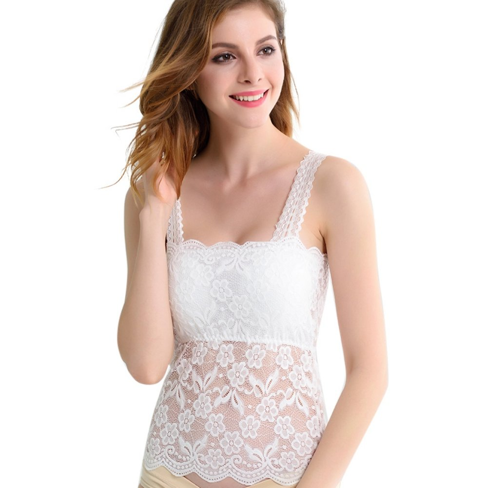 Women Lace Camisole Tank Tops Ladies Translucent Floral Bandeau Tube Tops Bralette