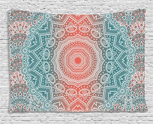 Coral Wall (Coral and Teal Tapestry by Ambesonne, Modern Tribal Mandala Tibetan Healing Motif with Floral Geometric Ombre Art, Wall Hanging for Bedroom Living Room Dorm, 60 W X 40 L Inches, Coral Teal)