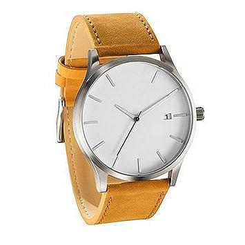 Relojes Hombre Yesmile Pareja Moda Relojes Banda de Cuero de Cuarzo analógico Relojes Reloj de Pulsera Redondo para Hombre de Negocios: Amazon.es: Hogar