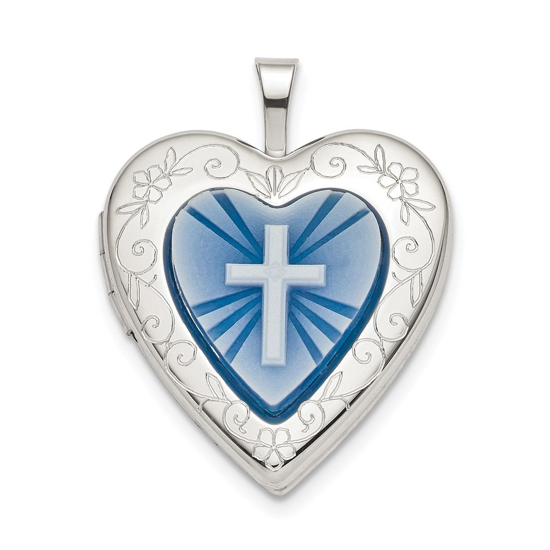 ICE CARATS 925 Sterling Silver 20mm Blue Resin Cross Religious Cameo Heart Photo Pendant Charm Locket Chain Necklace That Holds Pictures Fine Jewelry Ideal Gifts For Women Gift Set From Heart