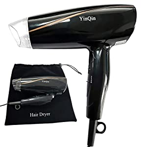 YinQin 1600W Negative Ionic Folding Hair Dryer Light Weight Travel Hair Dryer 2 Speeds and Cool Shot Button Tourmaline Ceramic Portable Blow Dryer for Travel with Drawstring Velvet Bag (Black)