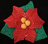 22'' Lighted Tinsel Red Poinsettia Flower Christmas Window Decoration