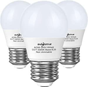 3-Pack A15 LED Ceiling Fan Light Bulbs 60 watt Equivalent, 5000K Daylight E26 Medium Base Small LED Appliance Bulb for Bathroom Vanity Fixtures, Non-dimmable