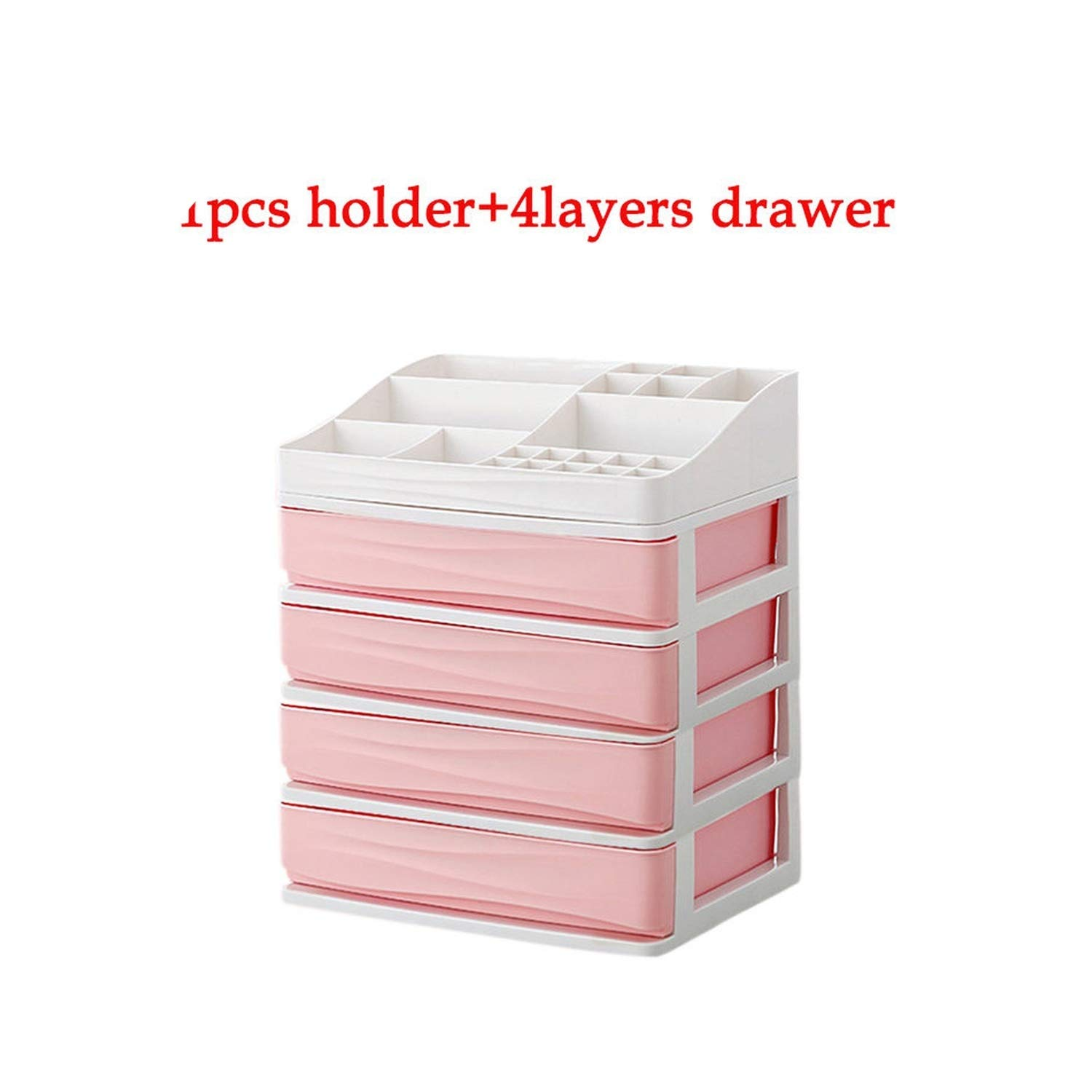 Ubiquity-Shop Plastic Cosmetic Drawer Makeup Organizer Makeup Storage Box Container Nail Casket Holder Desktop Sundry Storage Case,1holder 4layer4-pink