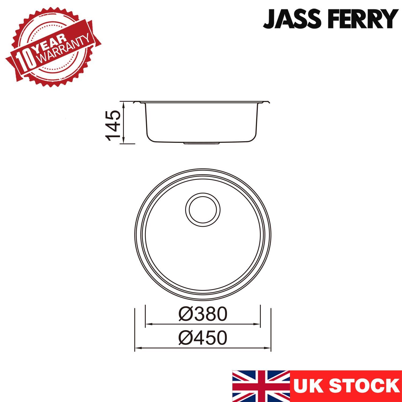 tuber/ías de residuos JASS FERRY para fregadero de cocina con colador Escurreplatos redondo de acero inoxidable 145 mm de profundidad clips de fijaci/ón