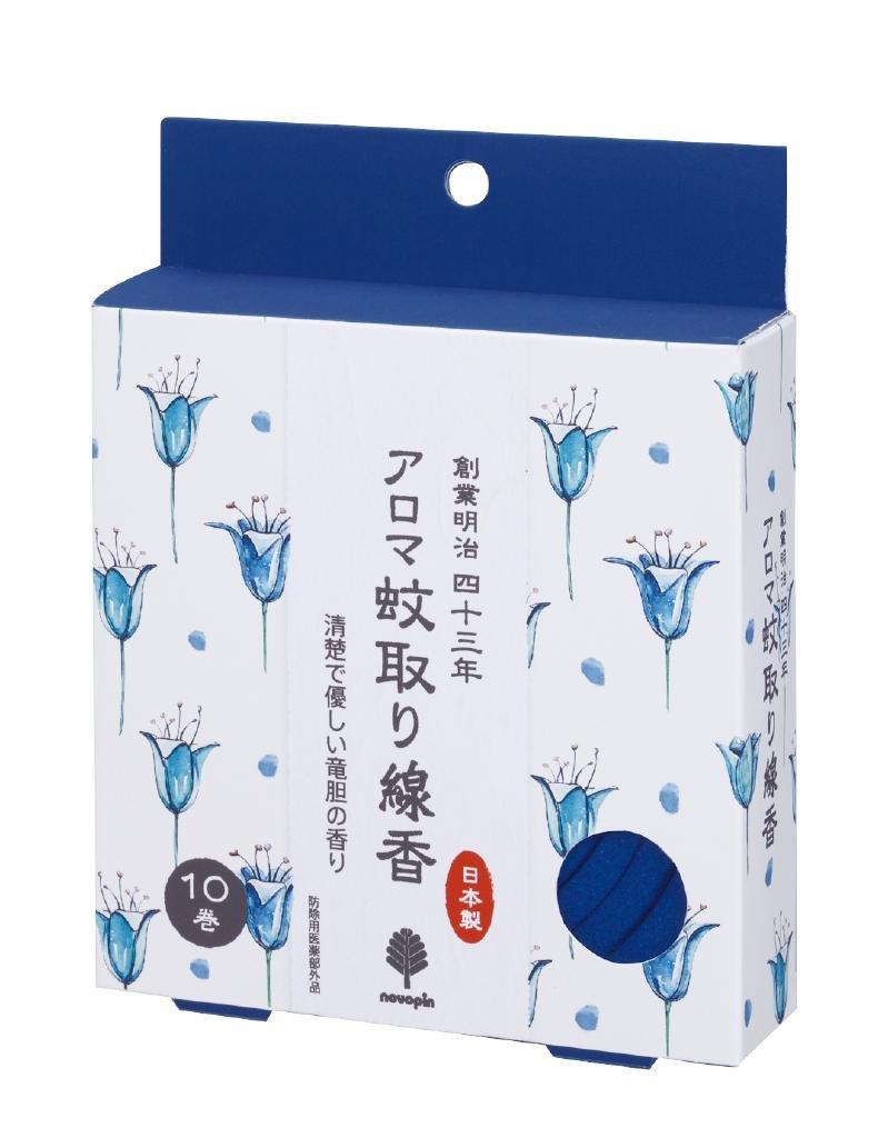 アロマ蚊取り線香10巻竜胆 【まとめ買い60個セット】 A-2116 日本製 Japan B00WM6N8N6