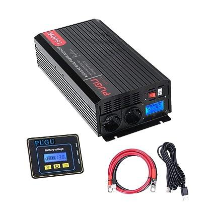 1500 Watt ERAYAK Reiner Sinus Spannungswandler 1500W DC 12V auf AC 230V Wechselrichter Power Inverter mit 2 EU-Steckdosen und USB-Anschluss