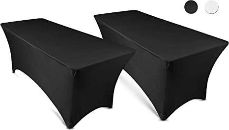 Amazon Com 6ft Tablecloth Rectangular Spandex Linen Black Table Cloth Fitted Cover For 6 Foot Folding Table Wedding Linens Banquet Cloths Rectangle Covers 2 Pack Kitchen Dining