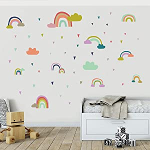 WEISIPU Rainbow Cloud Kids Bedroom Decor Wall Decal Sticker - Kids Room Wall Sticker Nursery Home Living Room Decor