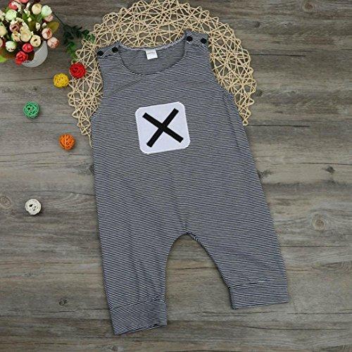 Saingace Bébé Filles Garçons Bande Sans manches Romper Combinaison vêtements Ensemble (Label Size:100(18-24mois))