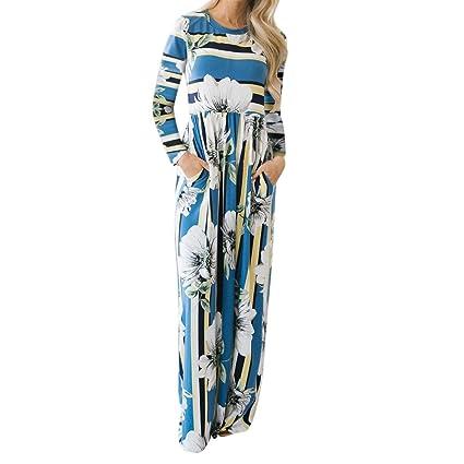 1b7da8707f55 Saihui Women Dress da Donna Stampa Floreale Vintage Boho Lungo Abito  Elegante a Maniche Lunghe Maxi Vestito con Tasche Prendisole Sera Party  Spiaggia ...