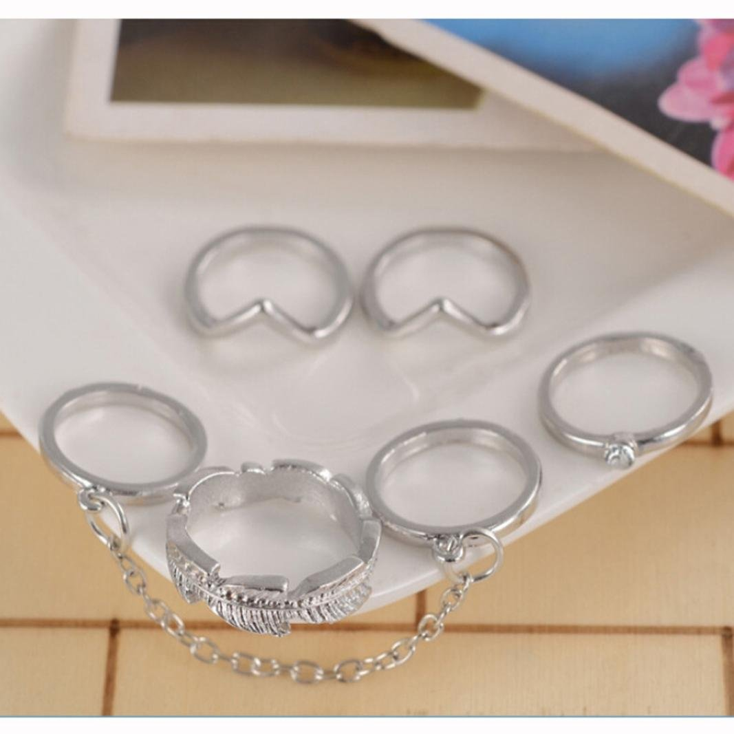 WensLTD Clearance! 6pcs/Set Gold Urban Rings Crystal Above Knuckle stacking Band Midi Mid Ring (Silver)