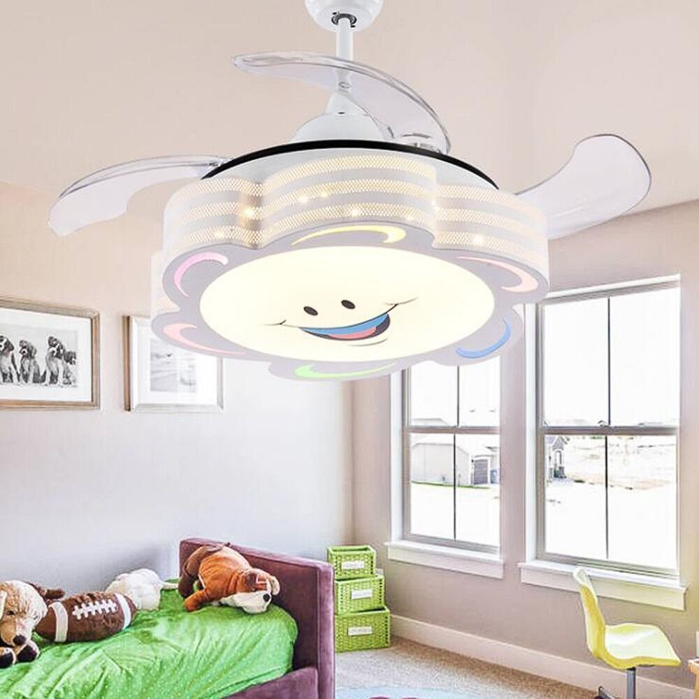 COLORLED 4 Blades Ceiling Fans Kids-42 Inch Smile Face Fan Chandelier With Modern Simple Style-for Children's Room, Bedroom and Living Room