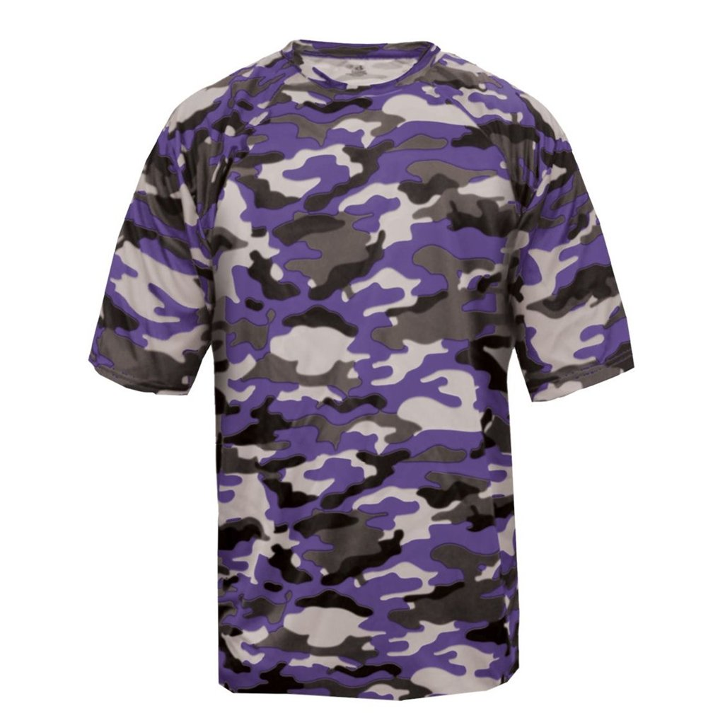 Badger Sport Youth Camouflage Tee (X-Small, Purple Camo)