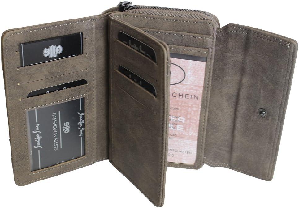 verschiedene Farben XL Brieftasche f/ür Frauen Portemonnaie mit M/ünzfach Kreditkartenf/ächer Ausweisf/ächer Fotof/ächer Mittel-Gro/ße Damen Geldb/örse 11021